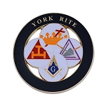 York Rite Royal Arch Templar Cryptic Council Round Masonic Auto Emblem - [Black & White][3'' Diameter]