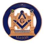 Double Columns Round Masonic Auto Emblem - [Blue & Gold][3'' Diameter]
