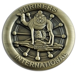 Shriners International Round Masonic Auto Emblem - [Antique Brass][3'' Diameter]