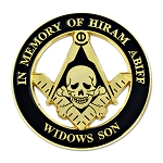 Widow's Son Skull Square & Compass Round Masonic Auto Emblem - [Black & Gold][3'' Diameter]