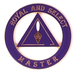Royal & Select Master Round Masonic Auto Emblem - [Purple & Gold][3'' Diameter]