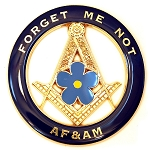 Forget Me Not AF&AM Round Masonic Auto Emblem - [Blue & Gold][3'' Diameter]
