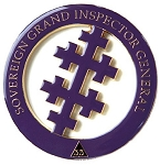 33rd Degree Salem Cross Round Masonic Auto Emblem - [Purple & Gold][3'' Diameter]