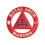 Royal Arch Round Masonic Auto Emblem - [Red & White][3'' Diameter]