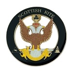 33rd Degree Double Headed Eagle Scottish Rite Round Masonic Auto Emblem - [Black & Gold][3'' Diameter]
