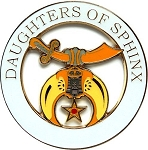 Daughters of Sphinx Round Masonic Auto Emblem - [White & Gold][3