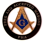 Prince Hall Free & Accepted Round Black Masonic Auto Emblem - 3