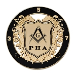 Prince Hall Shield Round Masonic Auto Emblem - [Black & Gold][3