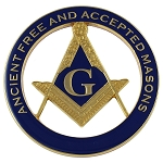 AF&AM Square & Compass Round Masonic Auto Emblem - [Blue & Gold][3'' Diameter]