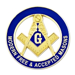 Modern Free & Accepted Square & Compass Round Masonic Auto Emblem - [Blue & Gold][3'' Diameter]