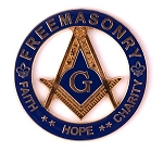 Faith Hope Charity Square & Compass Round Masonic Auto Emblem - [Blue & Gold][3'' Diameter]