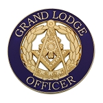 Grand Lodge Officer Round Masonic Auto Emblem - [Purple & Gold][3'' Diameter]