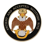 33rd Degree Double Headed Eagle (Wings Down) Ancient & Accepted Round Masonic Auto Emblem - [Black & Gold][3'' Diameter]