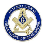 International Free & Accepted Modern Masons Round Masonic Auto Emblem - [Blue & Gold][3'' Diameter]