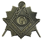Shining Square & Compass Masonic Auto Emblem - [Antique Brass][3