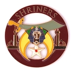 Shriner Round Masonic Auto Emblem - [Burgundy & Gold][3'' Diameter]
