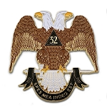 32nd Degree Scottish Rite Masonic Auto Emblem - [Brown & White][3'' Tall]