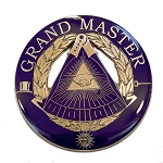 Grand Master Round Masonic Auto Emblem - [Purple & Gold][3'' Diameter]