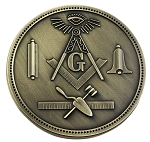 Working Tools Round Masonic Auto Emblem - [Antique Brass][3'' Diameter]