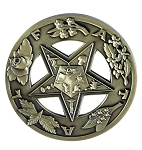 Order of the Eastern Star FATAL Round Masonic Auto Emblem - [Antique Brass][3'' Diameter]