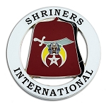 Shriners International Fez Round Masonic Auto Emblem - [White & Red][3