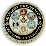 Military Masons Defenders of Freedom Round Masonic Auto Emblem - [Blue & Gold][3'' Diameter]