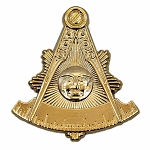 Sunburst Past Master Masonic Auto Emblem - [Gold][3'' Tall]