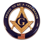 Proud to be a Freemason Round Masonic Auto Emblem - [Blue & Gold][3'' Diameter]