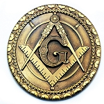 Square & Compass Round Masonic Auto Emblem - [Antique Brass][3'' Diameter]