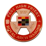 Royal Arch Masons Past High Priest Round Masonic Auto Emblem - [Red & Gold][3'' Diameter]