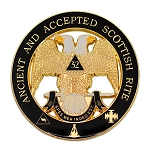 32nd Degree Ancient & Accepted Scottish Rite Round Masonic Auto Emblem - [Black & Gold][3'' Diameter]