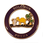 Solomon Sheba Round Masonic Auto Emblem - [Purple & Gold][3