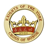 Knights of the York Round Masonic Auto Emblem - [Gold & Red][3'' Diameter]