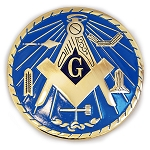 Working Tools Round Masonic Auto Emblem - [Light Blue & Gold][3'' Diameter]