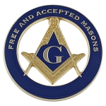 F&AM Square & Compass Round Masonic Auto Emblem - [Blue & Gold][3'' Diameter]