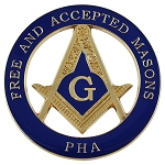 Prince Hall F&AM Square & Compass Round Masonic Auto Emblem - [Blue & Gold][3