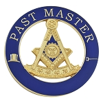 Past Master Round Masonic Auto Emblem - [Blue & Gold][3'' Diameter]