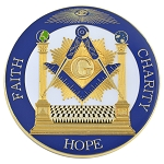 Square & Compass with Columns Faith Hope Charity Masonic Auto Emblem - [Blue & Gold][3'' Diameter]