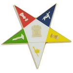 Order of the Eastern Star Masonic Auto Emblem - [White & Gold][3'' Tall]