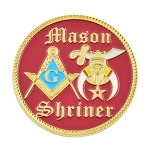 Shriner Masonic Auto Emblem - [Red & Gold][2'' Diameter]