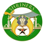 Shriners Masonic Auto Emblem - [Green & Yellow][3'' Diameter]