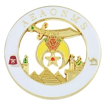 Shriner AEAONMS Masonic Auto Emblem - [White & Gold][3'' Diameter]