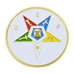 Order of the Eastern Star Masonic Auto Emblem - [White & Gold][2'' Diameter]