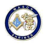 Mason Shriner Masonic Auto Emblem - [Blue & Gold][3'' Diameter]
