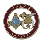 Mason Shriner Masonic Auto Emblem - [Burgundy & Gold][3