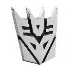 Transformer Decepticon Chrome Finish Auto Emblem - 2 1/2