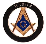 Mason Square & Compass Masonic Auto Emblem - [Black & Gold][3
