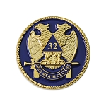 32nd Degree Scottish Rite Masonic Auto Emblem - [Blue & Gold][2