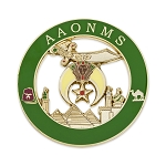 Shriner AAONMS Round Masonic Auto Emblem - [Green & Gold][3'' Diameter]