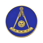 Past Master without Square Round Masonic Auto Emblem - [Blue & Gold][3'' Diameter]